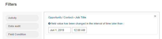 Creating a filter condition for job titles that have been changed since June 1, 2019