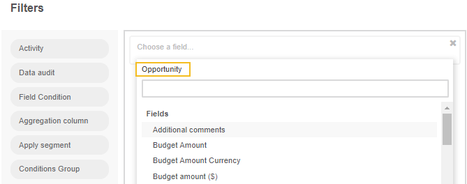View the list of fields related to the opportunity record