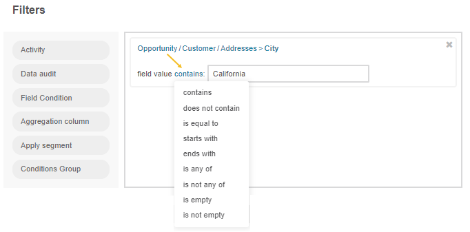 Filtering the opportunity record by customer name and city that contains California