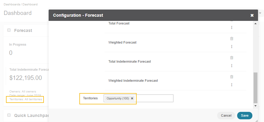 Enabling territories for the Forecast widget