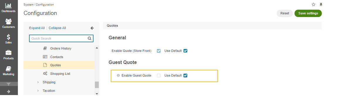 Global guest quote configuration settings