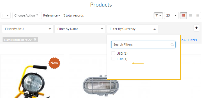 The storefront product page illustrating the Hide Unrelated Product Filters and Sorting Options configuration