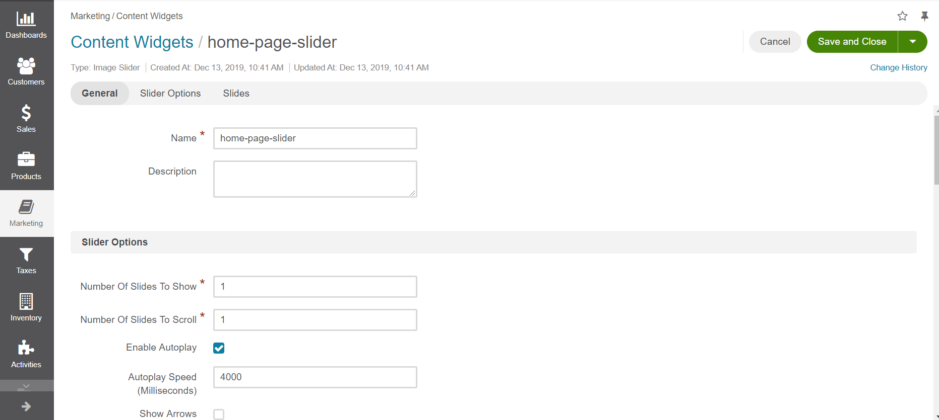 Image slider content widget form