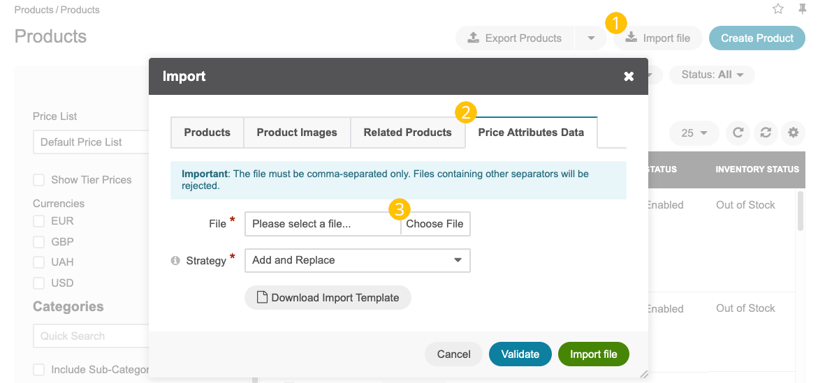 The steps that are necessary to perform to import the product price attributes successfully