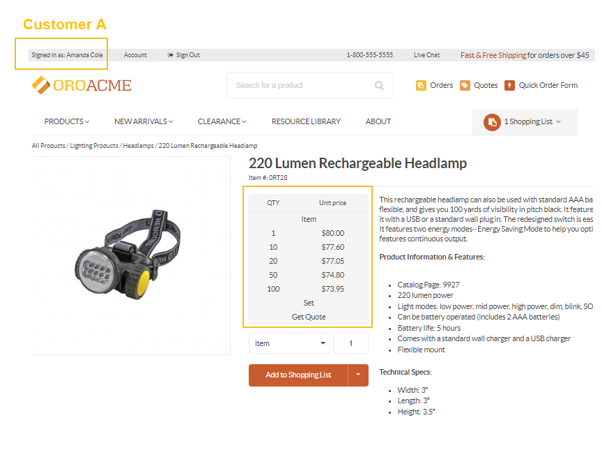 View all prices per tier for the lumen headlamp configured based on the selected minimal prices strategy