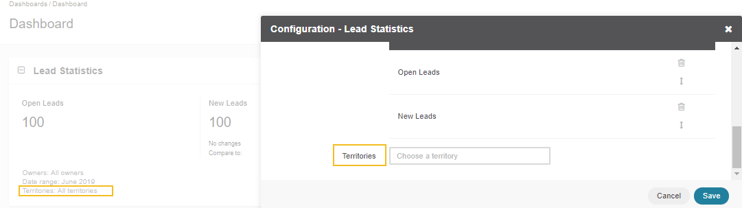 Enabling territories for the Lead Statistics widget