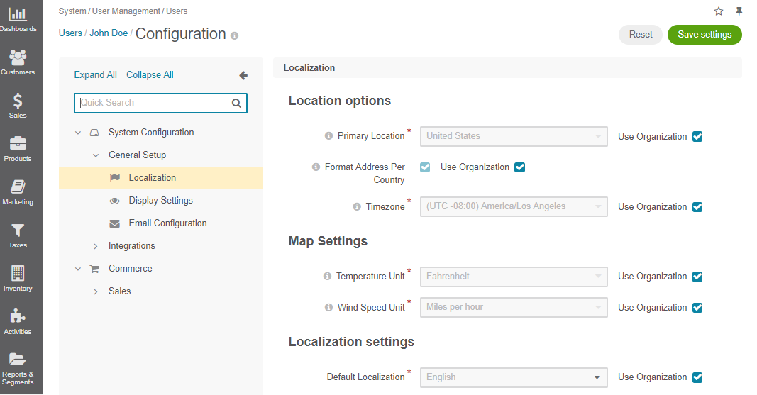 Localization options available on the user level