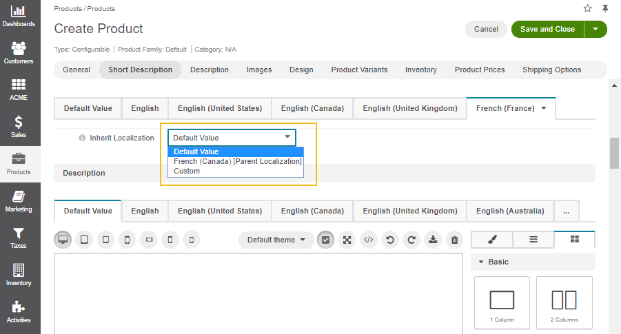 Localization fallback option for the short description of the configurable product