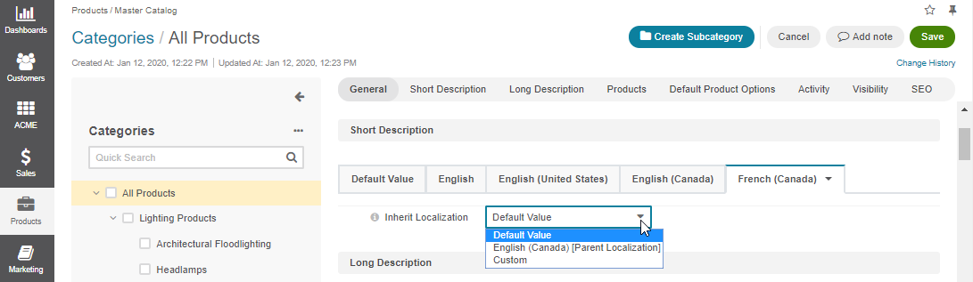 Localization fallback option for the short description of the master catalog
