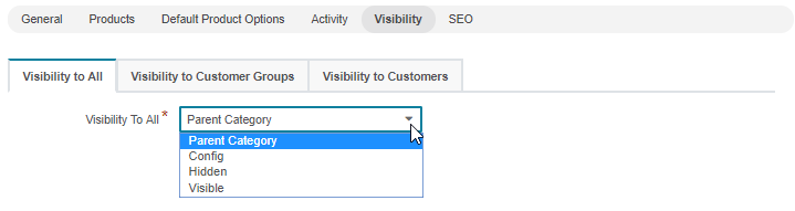 The visibility options available in the visibility section