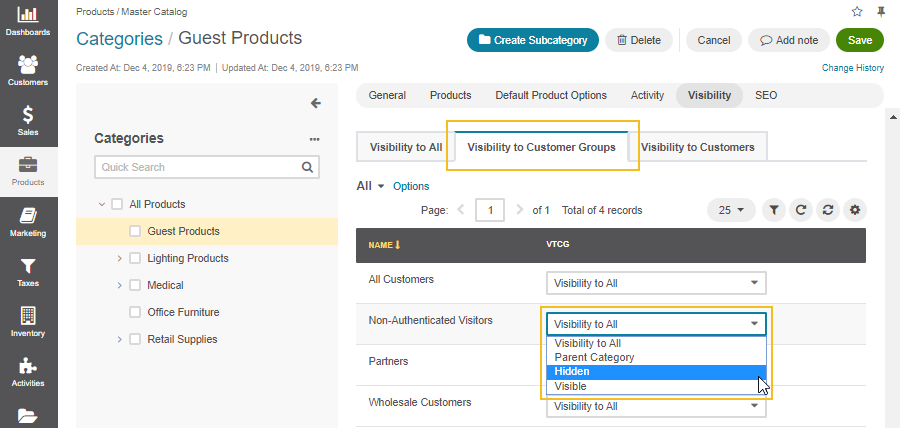 Configure master catalog category visibility for guest customers