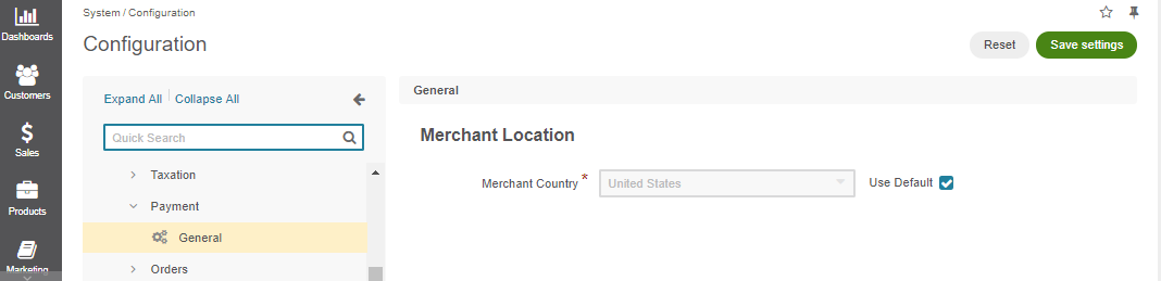 Global merchant location configuration settings