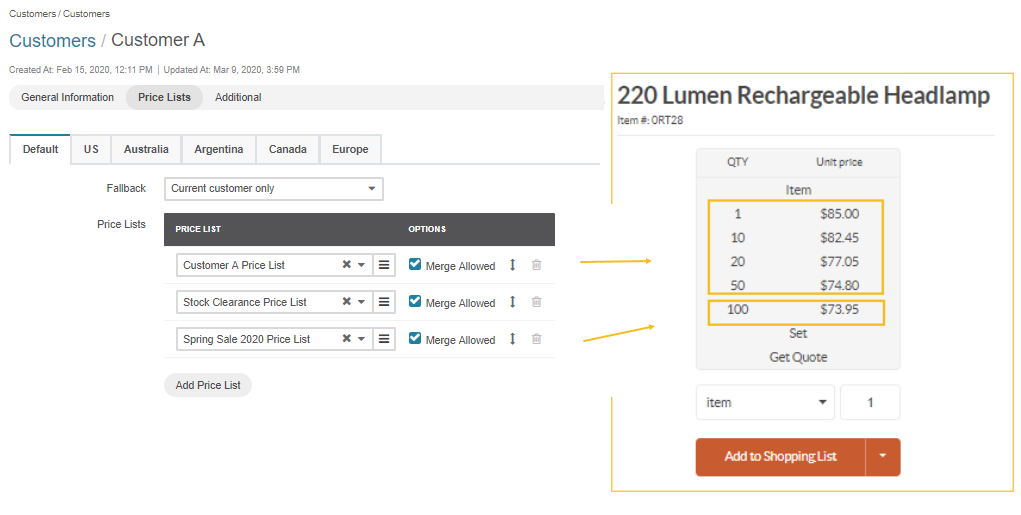 View all prices per tier for the lumen headlamp provided that Merge Allowed is enabled for all three price lists