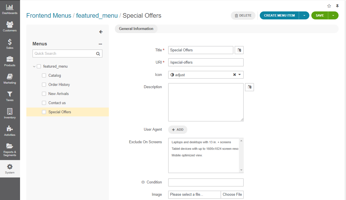 A new frontend menu item added to the featured menu in the back-office