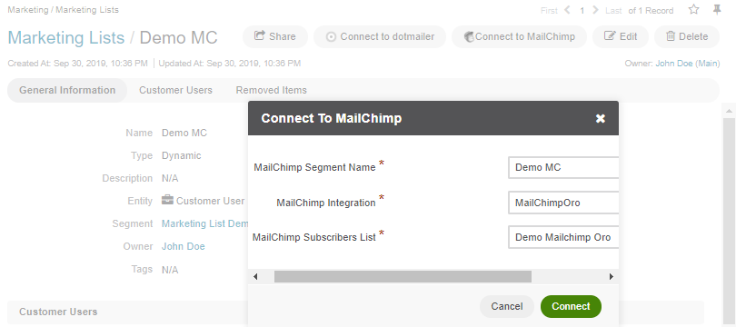 Map contents of an Oro marketing list to use a segment of the subscribers' list in MailChimp