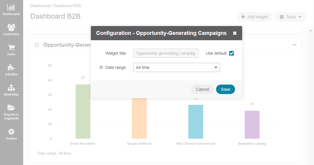 Configuring the Opportunity Generating Campaigns widget