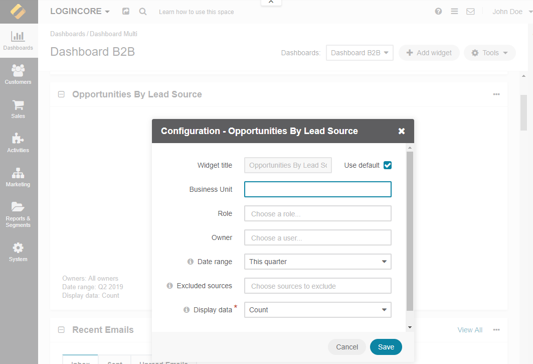 Configuring the Opportunities by Lead Source widget