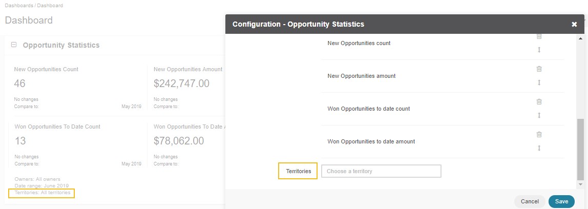 Enabling territories for the Opportunity Statistics widget