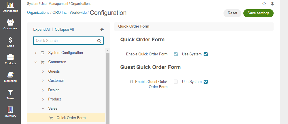 Configure quick order form per organization