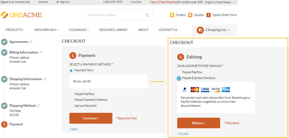 Different payment options for different websites