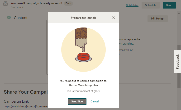 Send the email campaign from mailchimp