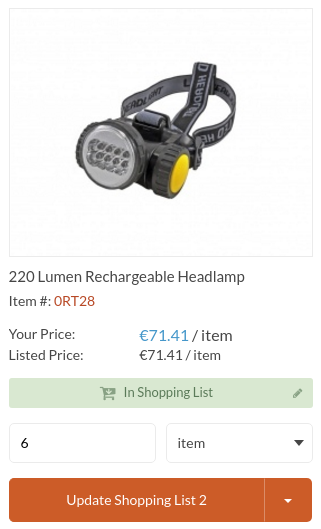 Display the prices in Euro for the lumen headlamp product
