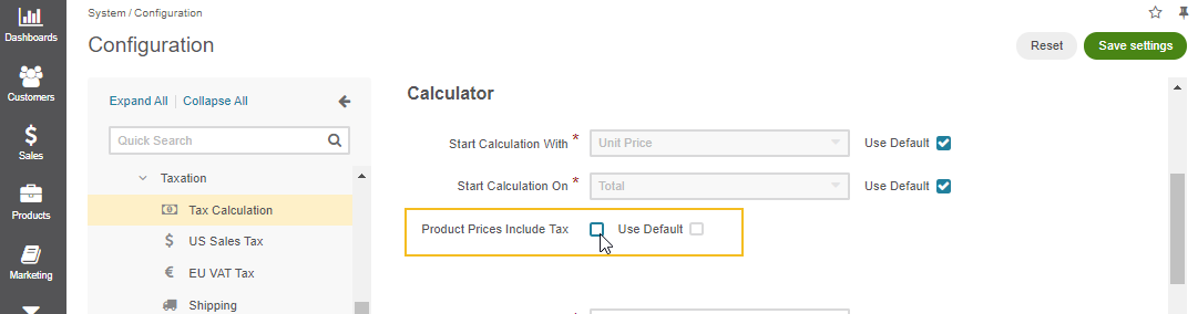 Toggle the feature to include or exclude the tax from product prices