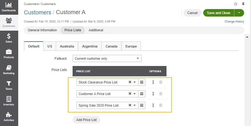 View the three price lists assigned to Customer A