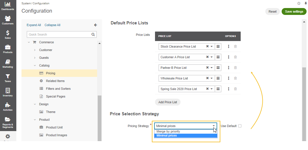 Set a pricing selection strategy in the system configuration