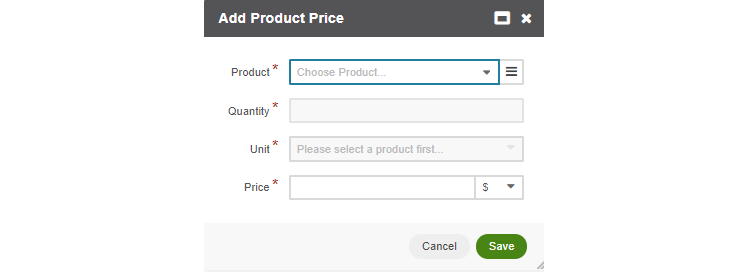 Add product prices in the opened popup dialog
