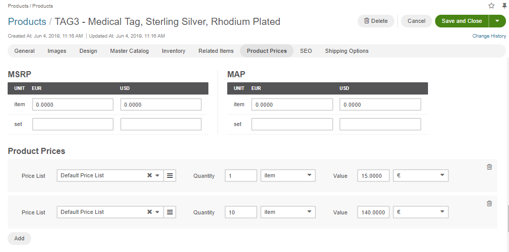 Adding the prices for the medical tag product to the Default PL manually when editing the product details