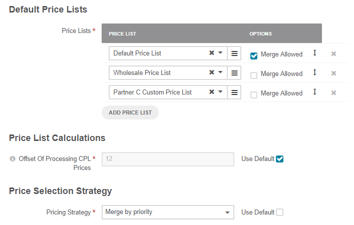 Default price lists configuration when merge allowed is selected