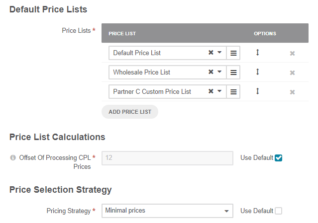 Default price lists configuration when minimal strategy is selected