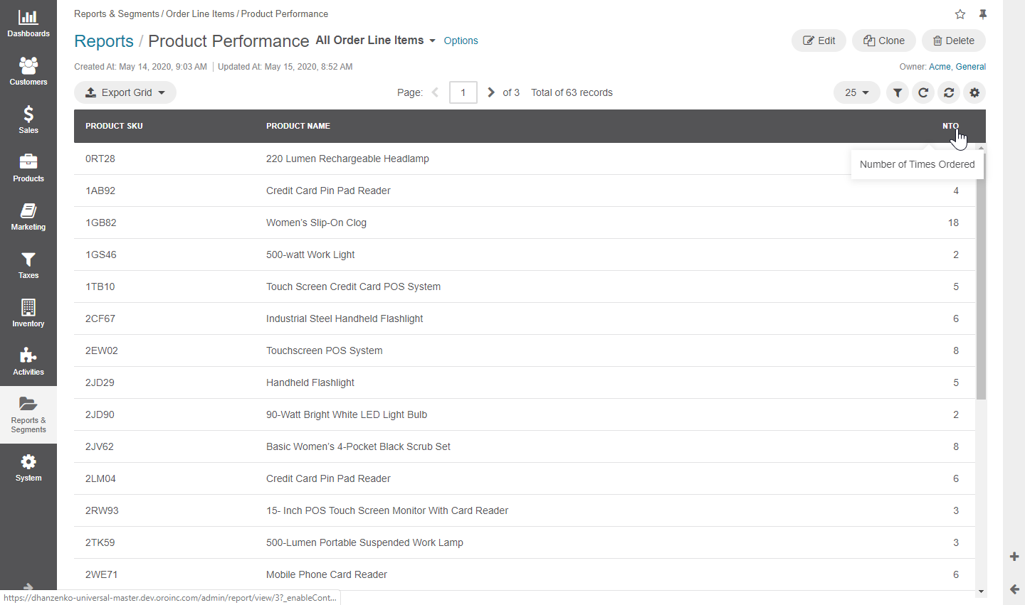 Product performance report grid