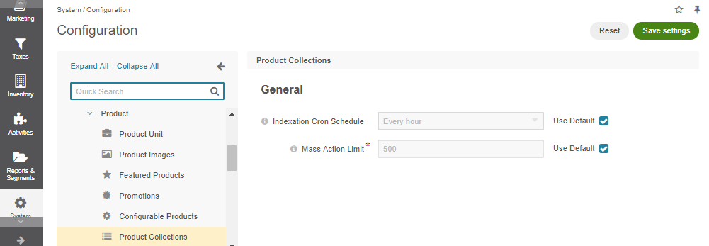 Global product collection configuration settings