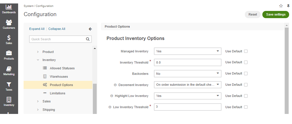 Global product inventory options configuration