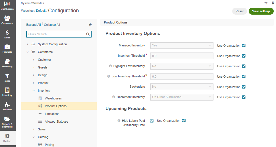 Product options configuration per website