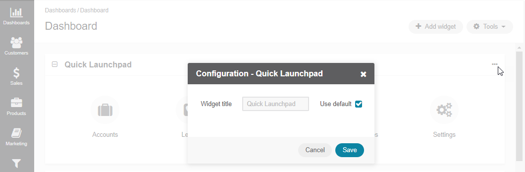 Configuring the Quick Launchpad widget
