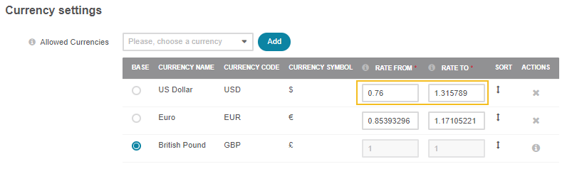 Demonstrate the example of the currency calculation provided that the rate of US dollar to British pound is 1 to 0.76