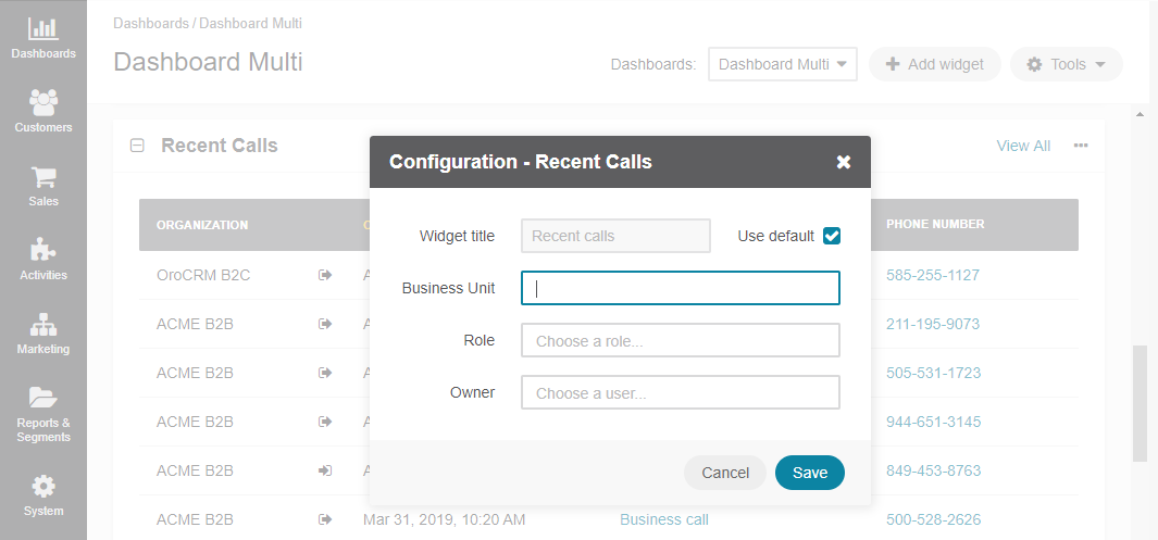 Configuring the Recent Calls widget