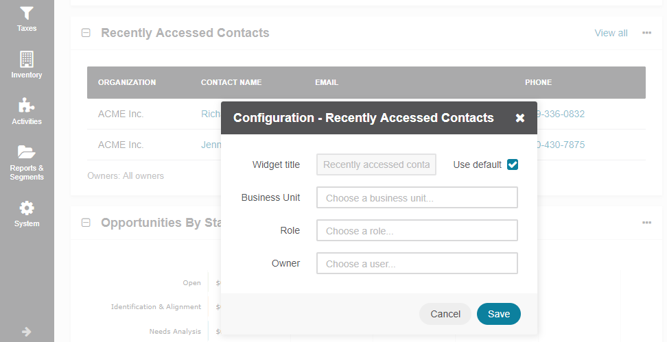 Configuring the Recently Accessed Contacts widget