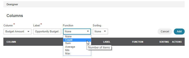 Selecting the Count function for the budget amount from the dropdown list