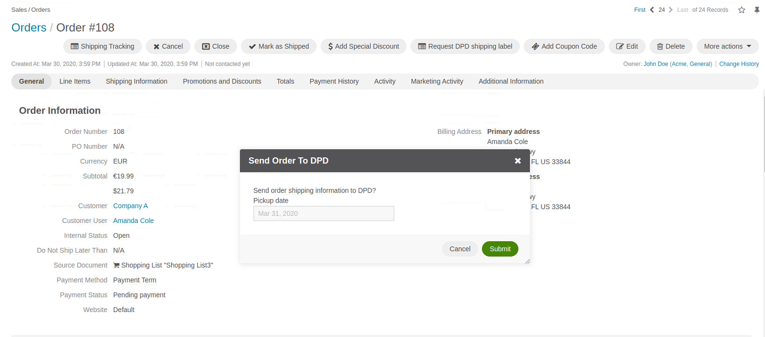 Requesting dpd shipping label on the order view page