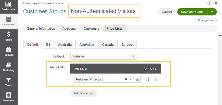 Add the retailers price list to the Non-Authenticated Visitors customer group