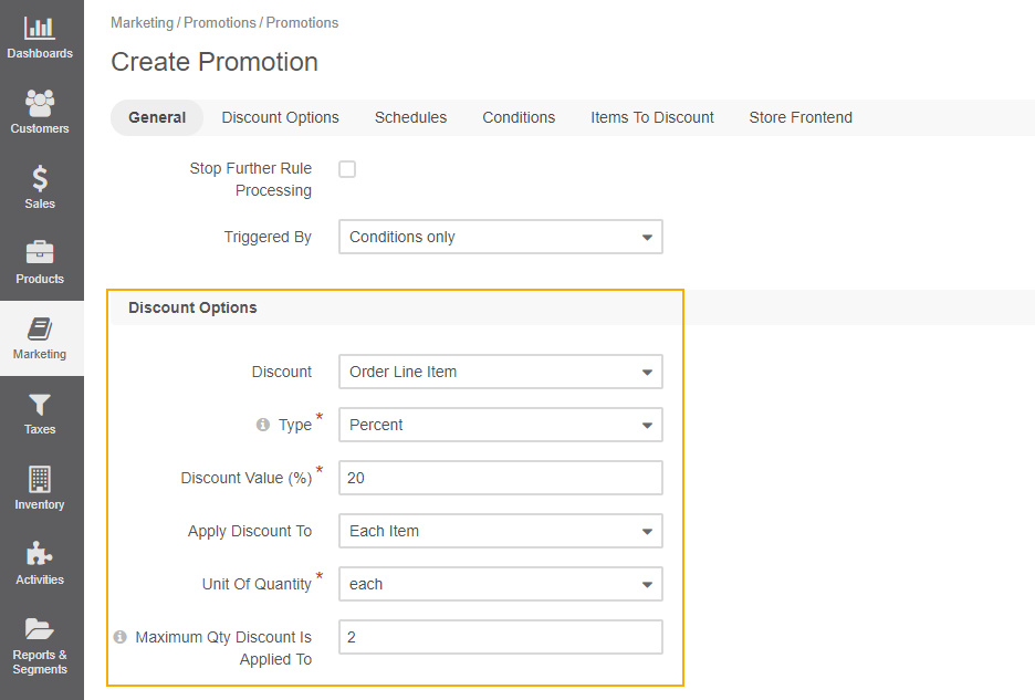 View the promotion discount options configured based on the conditions from the example