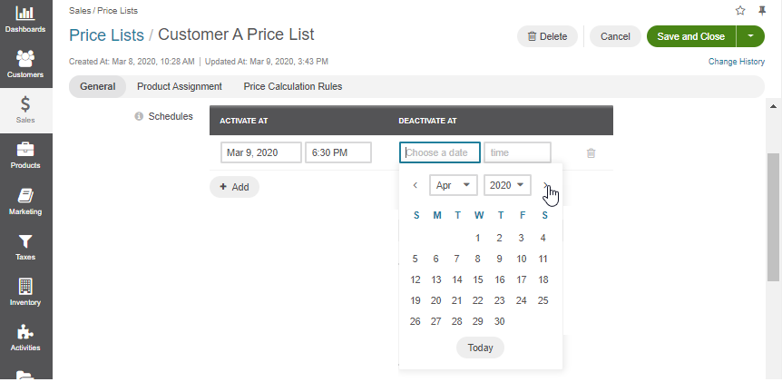 Schedule a price list by setting the date when to activate and deactivate it