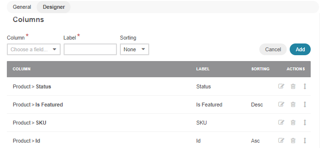 Adding the product status, featured products, product id and sku columns in the designer section
