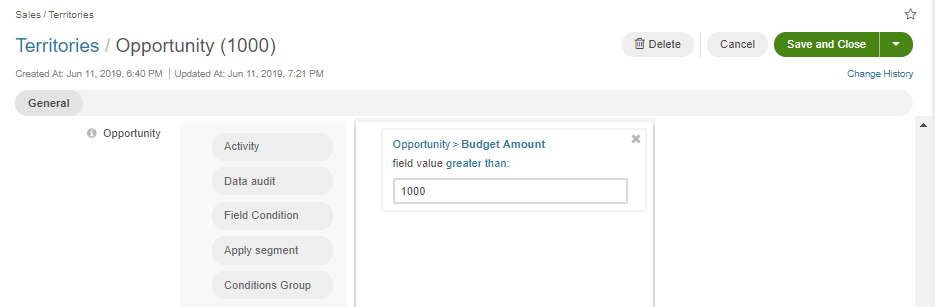 Display the filter condition configured for the opportunity entity that would search only the records that have the budget amount higher than $1000.