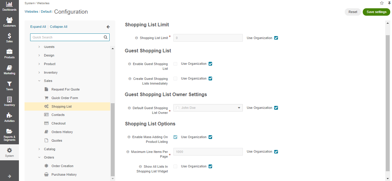 Shopping list configuration per website