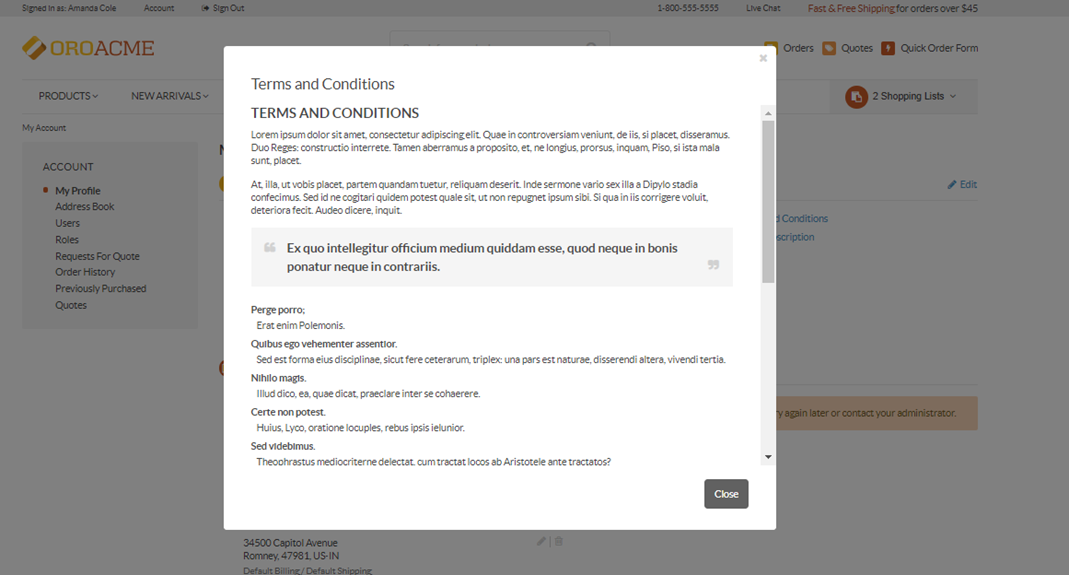 A sample of the Terms and Conditions landing page